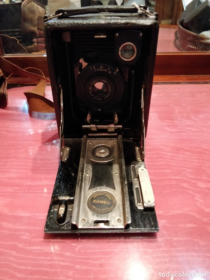 Cámara de fotos: Camara de fotos Butchers - Cameo de placas . fuelle cuero negro funda tela y 6 placas - Foto 7 - 52447109