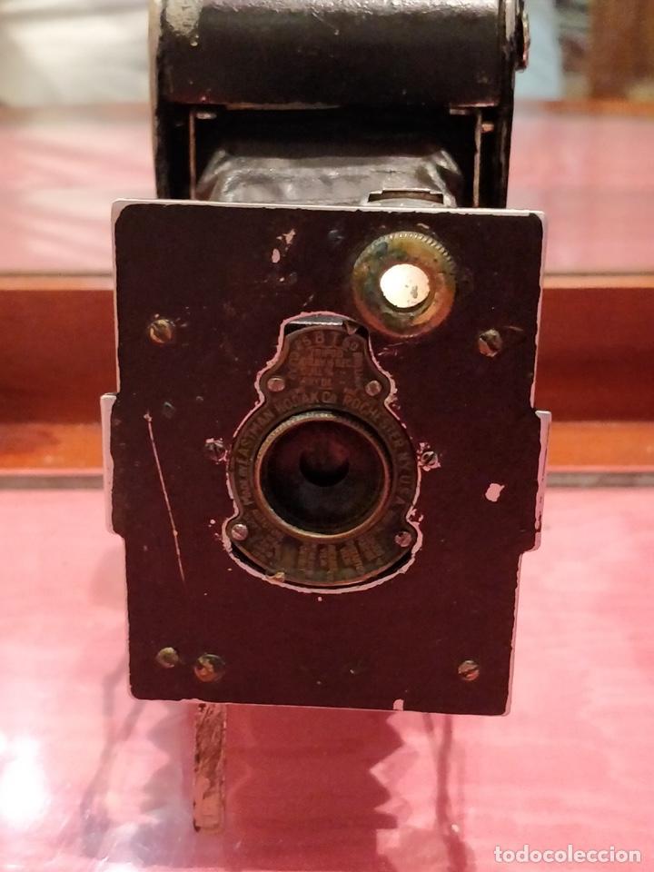 Cámara de fotos: Cámara de fuelle Easman Kodak 25 BT 50 de 1910 con funda de cuero marrón - Foto 7 - 141867838