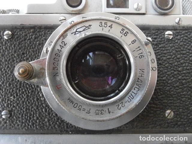 Cámara de fotos: Antigua cámara de fotos fotográfica soviética rusa URSS alemana modelo Zorki 1 Leica II año 1949 - Foto 5 - 150836190