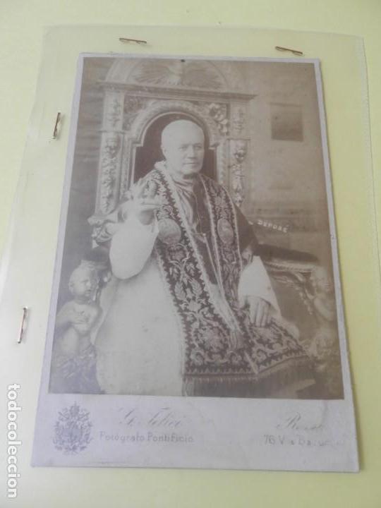 FOTOGRAFIA DEL PAPA PIO X SOBRE CARTON ALBUMINA FOTOGRAFO G.FELICI. ROMA SIGLO XIX (Cámaras Fotográficas - Antiguas (hasta 1950))