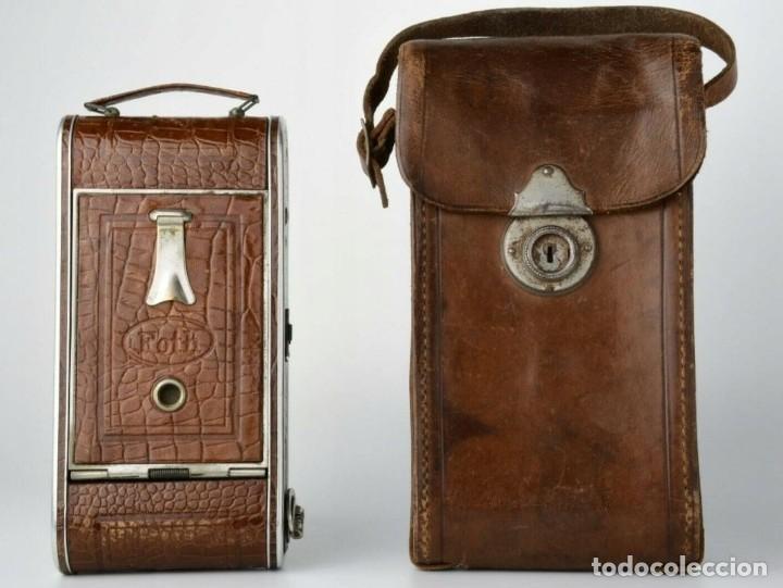 Cámara de fotos: Único antigua cámara kodak modelo Foth Cocodrilo !!! perfecto estado ,año 1930 funciona , PIEL - Foto 3 - 183622158