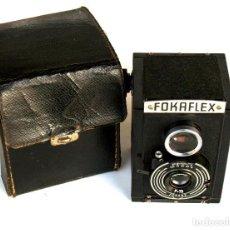 Cámara de fotos: *C1947* • DRUOPTA (CHECOSLOVAQUIA) FOKAFLEX • RARA BIÓPTICA 6X6 EN BAKELITA (FUNDA). Lote 184120801