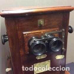 Cámara de fotos: LE TAXIPHOTO. VISOR ESTEREOSCOPICO AUTOMATICO COMPLETO. FRANCIA 1900. - Foto 5 - 197347955