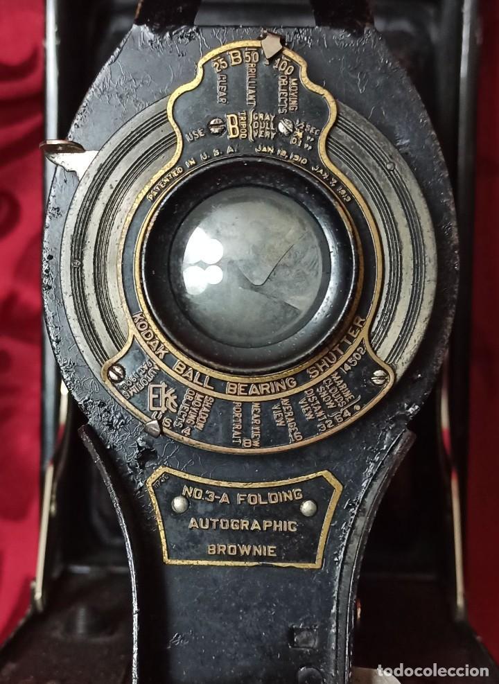 Cámara de fotos: KODAC BALL BEARING SHUTTER – Nº 3-A FOLOING AUTOGRAPHIC BROWNIE + Instrucciones - Foto 3 - 202383830