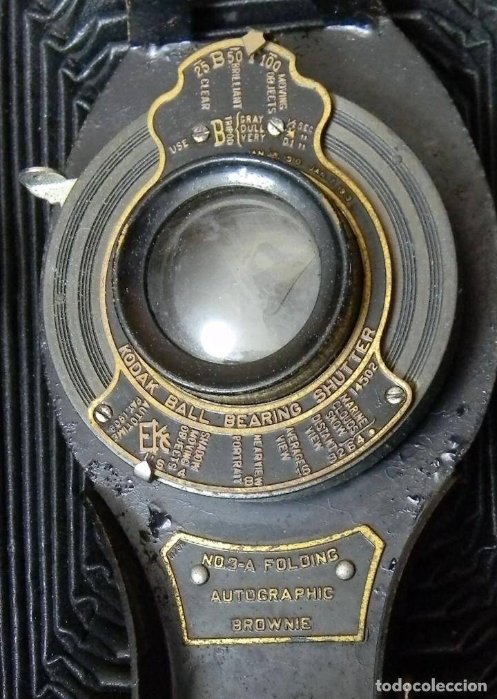 Cámara de fotos: KODAC BALL BEARING SHUTTER – Nº 3-A FOLOING AUTOGRAPHIC BROWNIE + Instrucciones - Foto 4 - 202383830