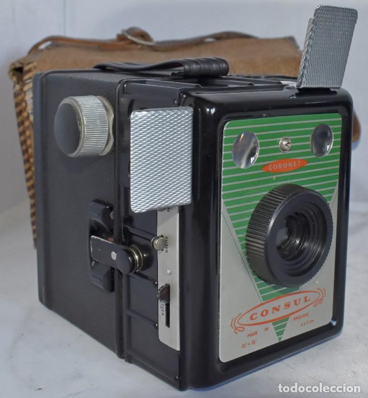 CAMARA ANTIGUA DE CAJON, ART DECO..INGLESA 1940..CORONET CONSUL +FUNDA..MUY BUEN ESTADO..FUNCIONA (Cámaras Fotográficas - Antiguas (hasta 1950))