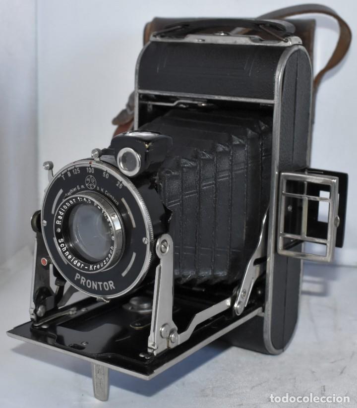 Cámara de fotos: MUY RARA, SIN MARCA.FUELLE.¿WIRGIN AUTA? DUAL+MASCARA+FUNDA..ALEMANIA 1949.MUY BUEN ESTADO.FUNCIONA - Foto 7 - 214757417