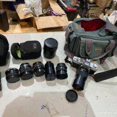 Cámara de fotos: KIT PROFESSIONAL MINOLTA SRT200 CON OBJETIVOS Y LENS . EXCELENTE ESTADO Y FUNCIONAMIENTO. VER FOTOS. Lote 221743830