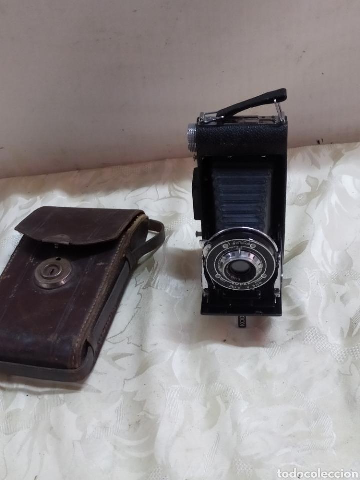 ANTIGUA CÁMARA DE FOTOS DE FUELLE CON FUNDA DE PIEL (Cámaras Fotográficas - Antiguas (hasta 1950))