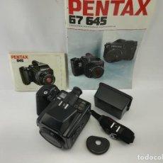 Cámara de fotos: CAMARA DE MEDIO FORMATO PENTAX 645 + PAPELES. Lote 228039050
