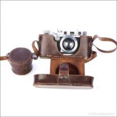 Cámara de fotos: ANTIGUA CÁMARA LEICA IIIA Y OBJETIVO SUMMAR F=5 CMS 1:2 . ALEMANIA 1938. Lote 230557950