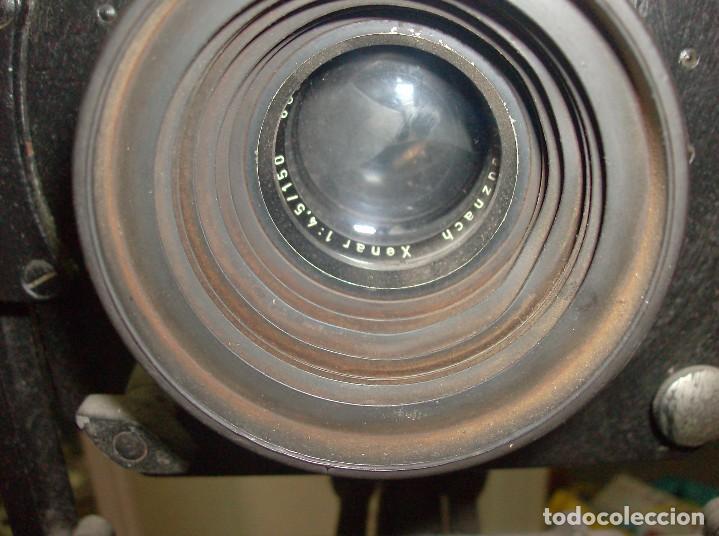 Cámara de fotos: CAMARA ANTIGUA DE FOTAGRAFIAS DE FUELLE Y PLACAS, CON TRIPODE INCORPORADO - Foto 9 - 235099325