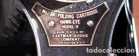 Cámara de fotos: EASTMAN KODAK Nº3 gran formato FOLDING CARTRIDGE HAWK-EYE MADE IN USA ROCHESTER N.Y. - Foto 9 - 235380195