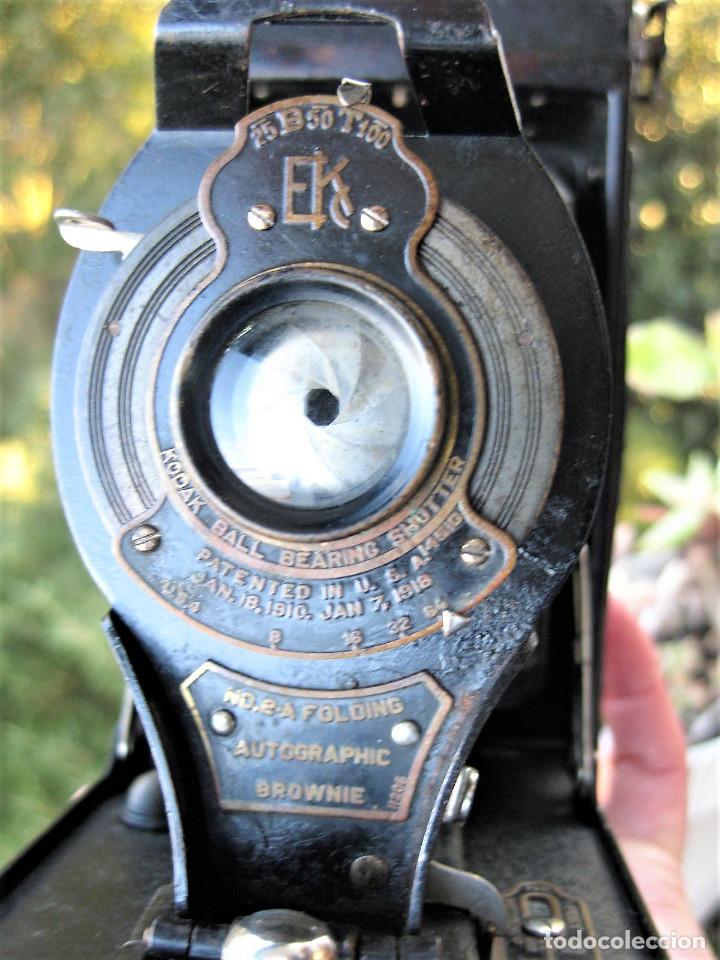 Cámara de fotos: KODAK BALL BEARING SHUTER Nº 2-A FOLDING AUTOGRAPHIC BROWNIE MADE IN USA ROCHESTER N.Y. - Foto 7 - 235380430