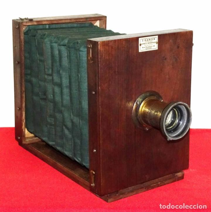 Cámara de fotos: Cámara de estudio J. GARCIN, c1900, fuelle verde - Foto 2 - 262514740