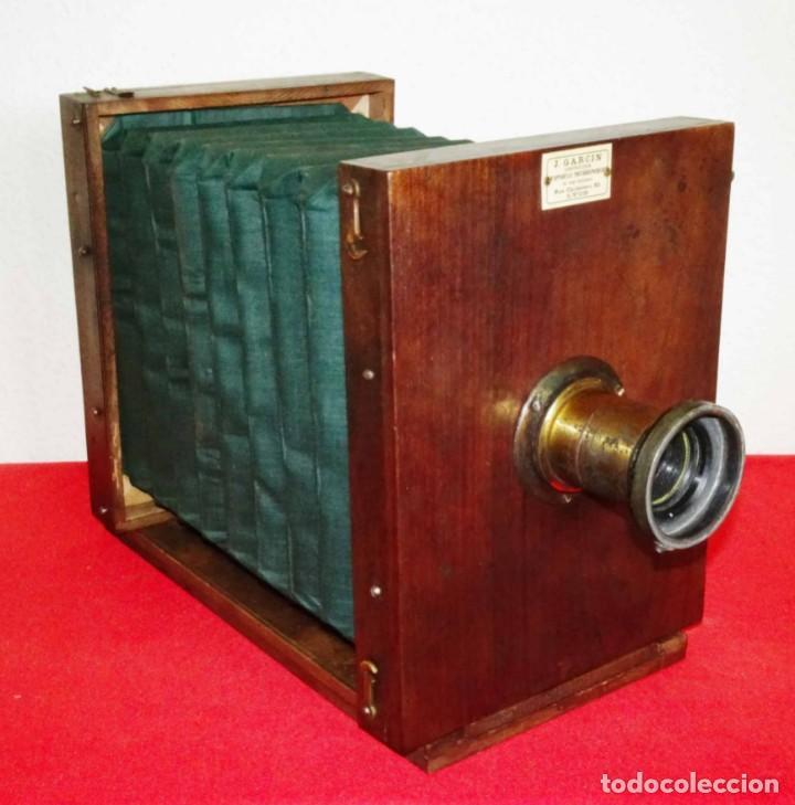 Cámara de fotos: Cámara de estudio J. GARCIN, c1900, fuelle verde - Foto 11 - 262514740