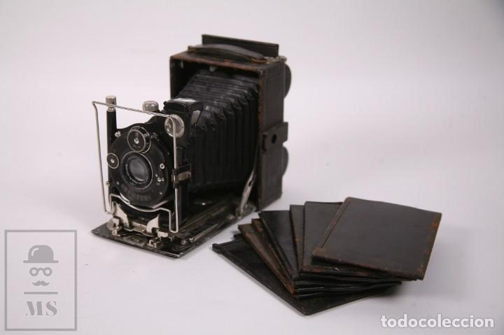ANTIGUA CÁMARA DE FUELLE PLACAS DE FOTOS - LENTE CARL ZEISS JENA - COMPUR - PRINCIPIOS SIGLO XX (Cámaras Fotográficas - Antiguas (hasta 1950))