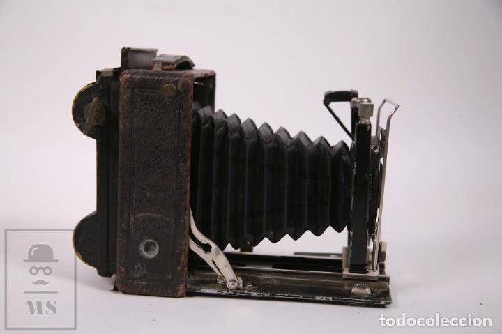 Cámara de fotos: Antigua Cámara de Fuelle Placas de Fotos - Lente Carl Zeiss Jena - Compur - Principios Siglo XX - Foto 3 - 276797598