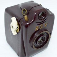 Fotocamere: ESPECIAL.MINIATURA,10CM..BAQUELITA..127 FILM..BILORA BOY GRANATE.ALEMANIA 1950.. ASTILLADA..FUNCIONA. Lote 287998838