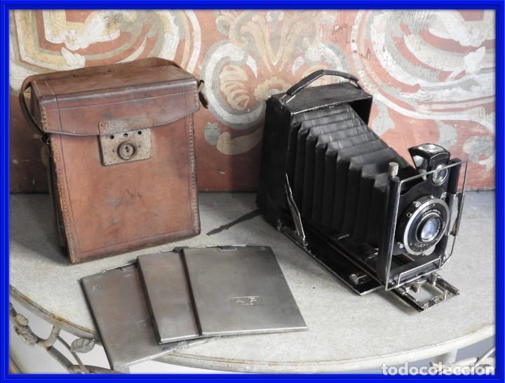 MAQUINA DE FOTOS COMPUR REFLEX CON FUNDA Y PLACAS (Cámaras Fotográficas - Antiguas (hasta 1950))