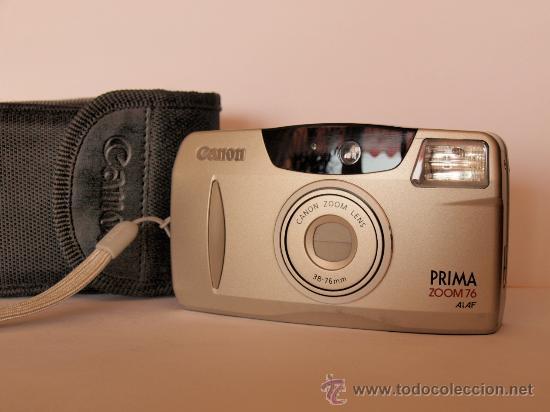 CANON PRIMA ZOOM 76 + CORREA DE MANO + FUNDA / FUNCIONANDO Y (Cámaras Fotográficas - Clásicas (no réflex))