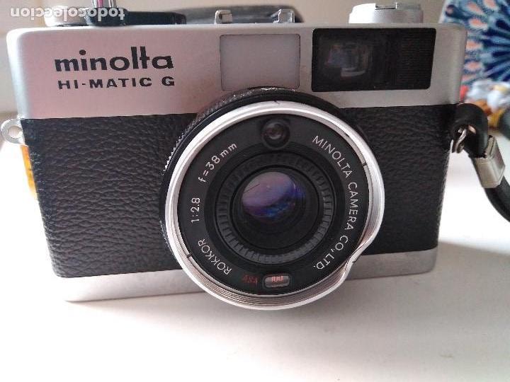 Cámara de fotos: ANTIGUIA CÁMARA FOTOGRÁFICA MINOLTA HI-MATIC - G con flash y fundas - Foto 8 - 93934265