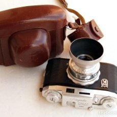 Cámara de fotos: *C1953* • KING AG REGULA IIA STEINHEIL CASSAR F3.5 PRONTO • 35MM FOTÓMETRO EXTINCIÓN, FUNDA, PARASOL. Lote 105244951