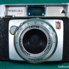 Cámara de fotos: WERLISA COLOR-FABRICADA ESPAÑA-OBJETIVO CERTEX-LAOTAR-FLASH AGFATRONIC 201B-AGFA-ESTUCHES-AÑOS 60. . Lote 189634135