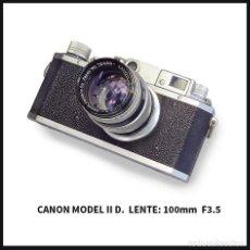 Cámara de fotos: CLÁSICA CANON II D. TELEMÉTRICA + LENTE CANON 100 MM. Lote 195017381