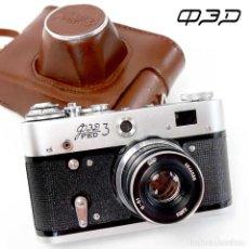 Cámara de fotos: CÁMARA FED-3 LAS LEICAS SOVIETICAS. FUNDA CUERO ORIGINAL 35MM. EXCELENTE. Lote 218593780