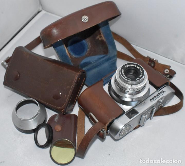 Cámara de fotos: 35 mm, CALIDAD..VOIGTLANDER VITO B+FUNDA+PARASOL+FILTROS, ..ALEMANIA 1957..MUY BUEN ESTADO..FUNCIONA - Foto 2 - 221652930