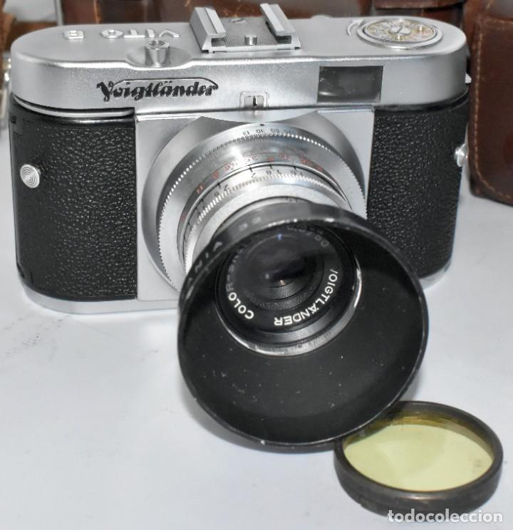 Cámara de fotos: 35 mm, CALIDAD..VOIGTLANDER VITO B+FUNDA+PARASOL+FILTROS, ..ALEMANIA 1957..MUY BUEN ESTADO..FUNCIONA - Foto 7 - 221652930