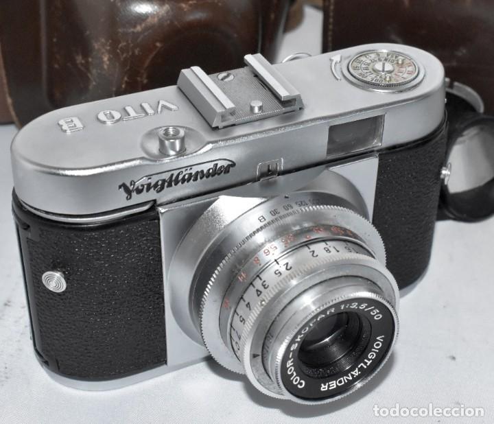 Cámara de fotos: 35 mm, CALIDAD..VOIGTLANDER VITO B+FUNDA+PARASOL+FILTROS, ..ALEMANIA 1957..MUY BUEN ESTADO..FUNCIONA - Foto 9 - 221652930