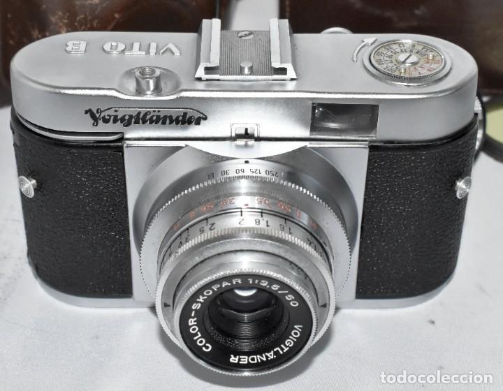Cámara de fotos: 35 mm, CALIDAD..VOIGTLANDER VITO B+FUNDA+PARASOL+FILTROS, ..ALEMANIA 1957..MUY BUEN ESTADO..FUNCIONA - Foto 11 - 221652930