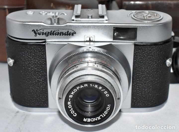 Cámara de fotos: 35 mm, CALIDAD..VOIGTLANDER VITO B+FUNDA+PARASOL+FILTROS, ..ALEMANIA 1957..MUY BUEN ESTADO..FUNCIONA - Foto 12 - 221652930