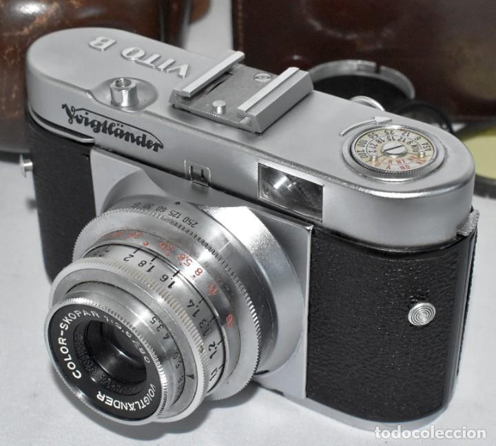 Cámara de fotos: 35 mm, CALIDAD..VOIGTLANDER VITO B+FUNDA+PARASOL+FILTROS, ..ALEMANIA 1957..MUY BUEN ESTADO..FUNCIONA - Foto 14 - 221652930