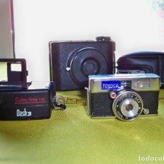 Cámara de fotos: 3 ANTIGUAS CÁMARAS MINIATURAS TOYOCA MADE IN JAPAN, V.P TWIN MADE IN ENGLAND, DASH 3 MADE CHINA. Lote 279457458