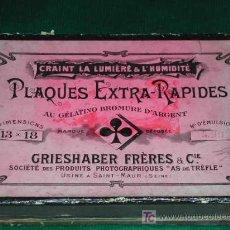 Cámara de fotos: CAJA DE PLACAS AL GELATINO BROMURO DE PLATA DE LA CASA GRIESHABER FRÈRES & CIE. Lote 15657592