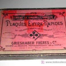Cámara de fotos: CAJA DE PLACAS AL GELATINO BROMURO DE PLATA DE LA CASA GRIESHABER FRÈRES & CIE. Lote 14071850