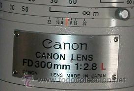 Cámara de fotos: CANON LENS - FD 300 mm 1:2.8 L - PROFESIONAL - MUY LUMINOSO - CANON ORIGINAL- CAMARA F1 NO - Foto 3 - 26269957