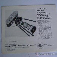 Cámara de fotos: LEITZ LITERATURA ACCESORIO DE COPIADO PARA LEICA M CON 50MM ELMAR Y SUMMICRON EN INGLES COMPLETO . Lote 28251473