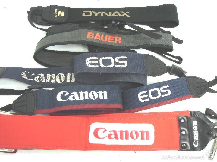 LOTE 5X CORREA CAMARA DE FOTOS - CANON EOS BAUER MINOLTA DYNAX - CINTA (Cámaras Fotográficas Antiguas - Objetivos y Complementos )
