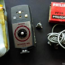 Cámara de fotos: LOTE ANTIGUO FLASH NATIONAL HYPER FLASH GUN MODEL BII B2 2 BOMBILLAS PF-1B - PHOTOFLUX DE PHILIPS. Lote 57319881