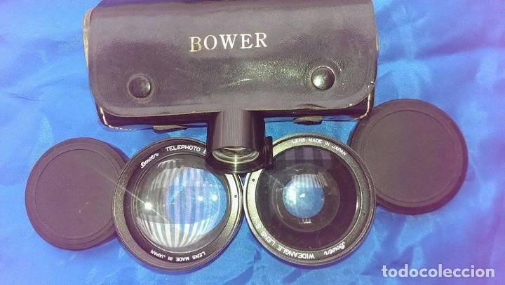 2 OBJETIVO BOWER PARA MAQUINA FOTOGRAFICA Y 1 MIRILLA FUNDA CUERO (Cámaras Fotográficas Antiguas - Objetivos y Complementos )