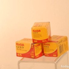 Câmaras de fotos: 3 CARREYES KODAK GOLD 2-36 1-24 CAJAS PRECINTADAS. Lote 90964200