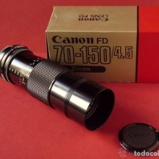 Cámara de fotos: OBJETIVO ZOOM CANON FD 70-150MM. 1:4.5 CON TAPAS Y FILTRO U.V. EN EMBALAJE ORIGINAL 70-150. Lote 92710580