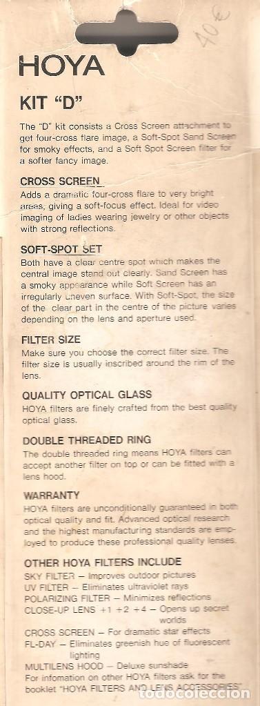 """Cámara de fotos: Kit """"D"""" de 3 filtros HOYA 46mm para fotografía y video. - Foto 2 - 101246359"""
