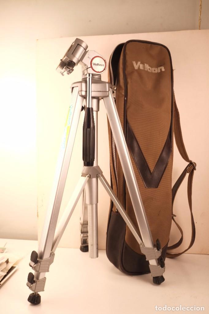 Cámara de fotos: tripode velbon 3-seciones. cerrado-55- alto -150- funda ex-90 perfecto - Foto 2 - 101442923