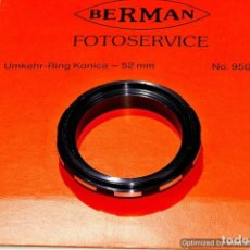 Cámara de fotos: INVERSOR OBJETIVO MACRO PARA KONICA 52MM. (MARCA BERMAN). Lote 103596147