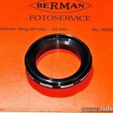 Cámara de fotos: INVERSOR OBJETIVO MACRO PARA MINOLTA 55MM. (MARCA BERMAN). Lote 103596311